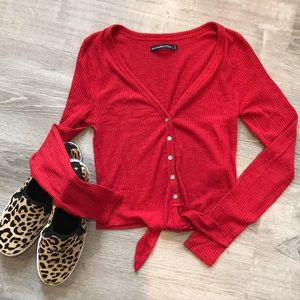 Red A&F Button Up